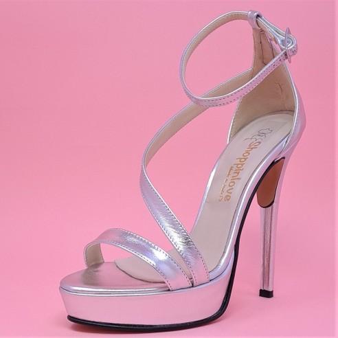 sandalo argento con tacco 13 cm SL2100