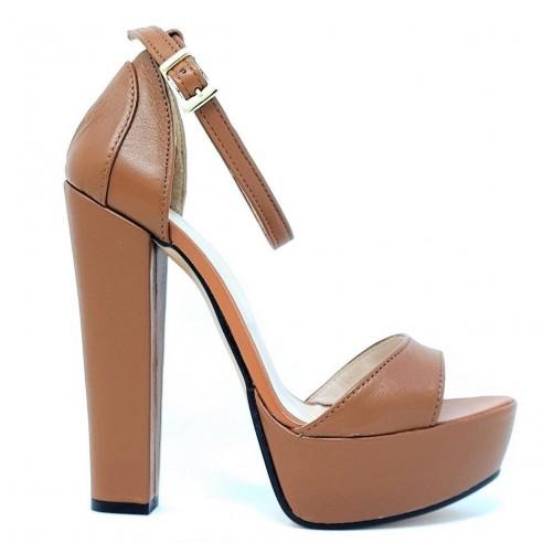Sandalo donna tacco largo cuoio